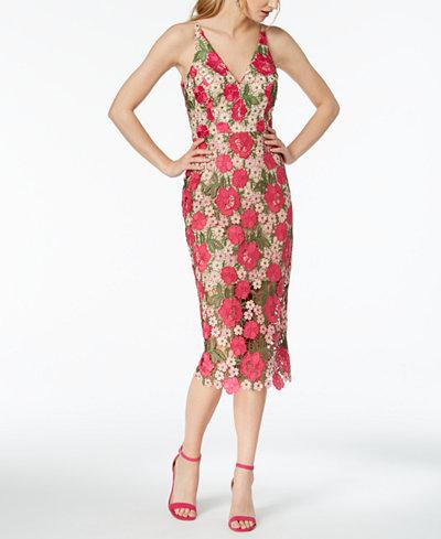 XSCAPE Floral-Pattern Lace Midi Dress