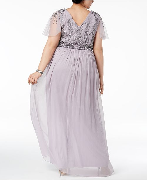 Adrianna Papell Plus Size Beaded Gown - Dresses - Macy\'s