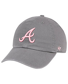 '47 Brand Atlanta Braves Dark Gray Pink CLEAN UP Cap