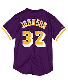 Mitchell & Ness Men's Magic Johnson Los Angeles Lakers Name and Number Mesh Crewneck Jersey