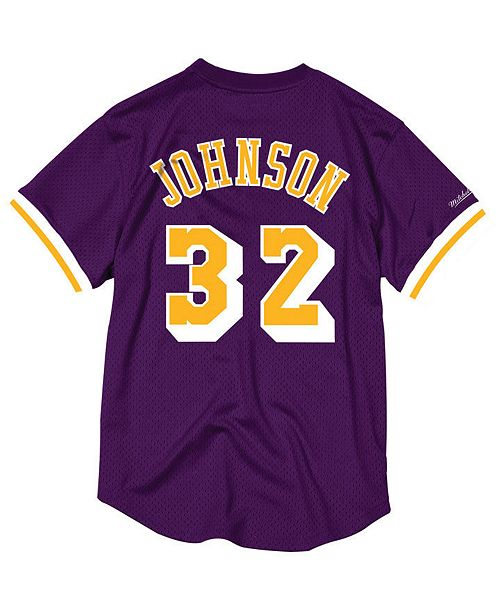 f0d0e3fe4 ... Mitchell   Ness Men s Magic Johnson Los Angeles Lakers Name and Number  Mesh Crewneck Jersey ...