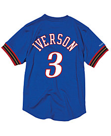Mitchell & Ness Men's Allen Iverson Philadelphia 76ers Name and Number Mesh Crewneck Jersey