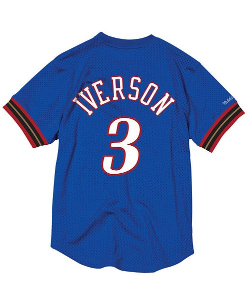 bdf37d692b26 ... Crewneck Jersey  Mitchell   Ness Men s Allen Iverson Philadelphia 76ers  Name and Number Mesh Crewneck ...