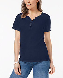 Karen Scott Henley T-Shirt In Regular & Petite Sizes, Created for Macy's