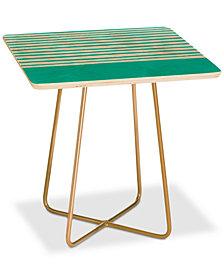 Deny Designs Leah Flores Aqua Stripes Square Side Table