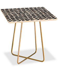 Deny Designs Little Arrow Design Co. Arcadia Herringbone in Black Square Side Table