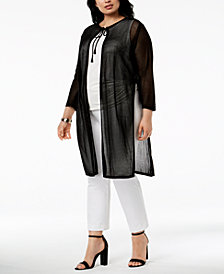 Anne Klein Plus Size Sheer Duster Cardigan