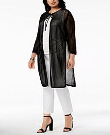 Anne Klein Plus Size Sheer Duster Cardigan