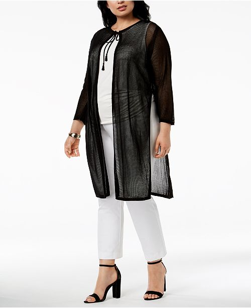 0ecb4dc86f0cc Anne Klein Plus Size Sheer Duster Cardigan   Reviews - Sweaters ...