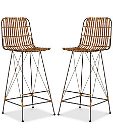 Guldin Wicker Stool (Set Of 2), Quick Ship