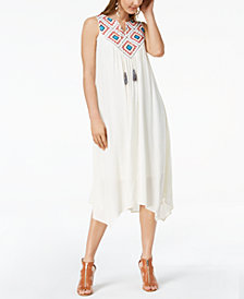 John Paul Richard Petite Embroidered Handkerchief-Hem Dress
