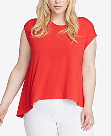 RACHEL Rachel Roy Trendy Plus Size Cap-Sleeve High-Low Top