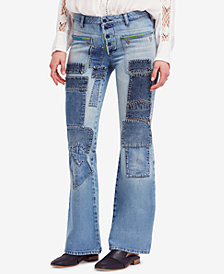 Free People Cotton Patched Flare-Leg Jeans