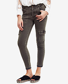 Free People Released-Hem Utility Skinny Jeans