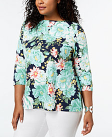 Charter Club Plus Size Floral-Print Boat-Neck Top, Created for Macy's