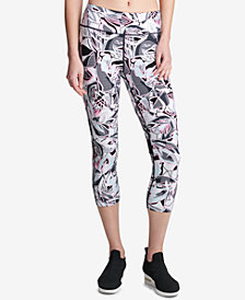 DKNY Sport Printed Mesh-Inset Cropped Leggings