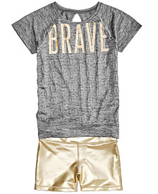 Ideology Graphic-Print T-Shirt & Metallic Compression Shorts, Big Girls, Created for Macy's