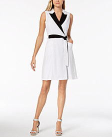 Calvin Klein Colorblocked Wrap Dress, Regular & Petite Sizes