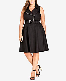 City Chic Trendy Plus Size Belted Moto Dress