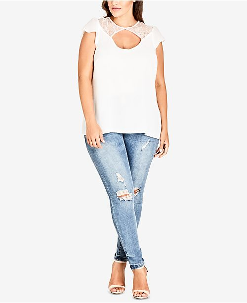City Cutout Size Plus Trendy Lace Ivory Inset Top Chic rS7Ogqwr