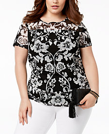 I.N.C. Plus Size Side-Ruched Print Top, Created for Macy's