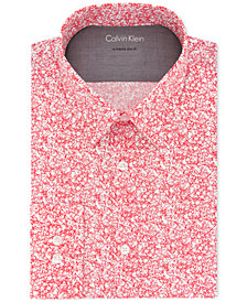 Calvin Klein X Men's Extra-Slim Fit Non-Iron Thermal Stretch Performance Red Print Dress Shirt