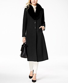 Fox Fur-Collar Maxi Coat