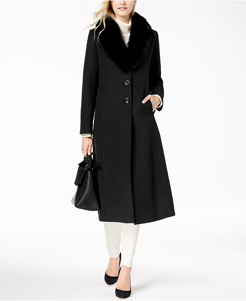d927670f9d91f Forecaster Fox Fur-Collar Maxi Coat   Reviews - Coats - Women - Macy s