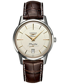 Longines Men's Swiss Automatic Flagship Héritage Brown Alligator Leather Strap Watch 38.5mm