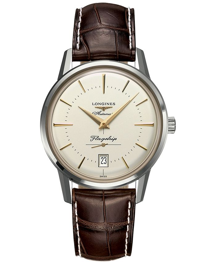Longines - Men's Swiss Automatic Flagship Héritage Brown Alligator Leather Strap Watch 38.5mm