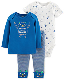 Carter's Baby Boys 3-Pc. Cotton Monster Bodysuit, T-Shirt & Pants Set