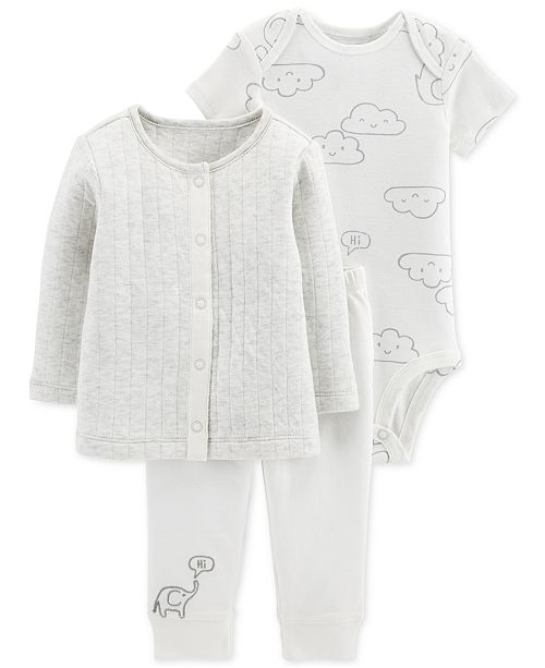 2681c4d90 Carter's Baby Boys & Girls 3-Pc. Cardigan, Bodysuit & Pants Set ...