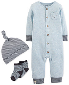 Carter's Baby Boys 3-Pc. Striped Hat, Coverall & Socks Set