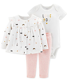 Carter's Baby Girls 3-Pc. Top, Bodysuit & Pants Set