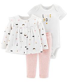 Carter's Baby Girls 3-Pc. Top, Bodysuit & Pants Set