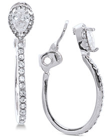 Anne Klein Crystal E-Z Comfort Clip-On Hoop Earrings