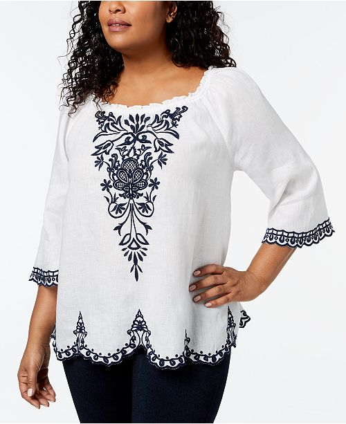 Peasant Plus Bright Club Charter Embroidered Top Linen Macy's Created White Size for v6TqxXq
