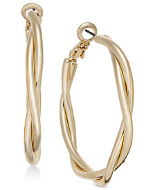 Charter Club Gold-Tone Double Twist Hoop Earrings, Created for Macy's