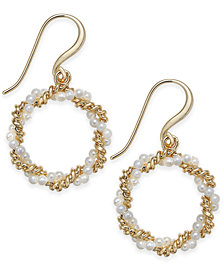 Charter Club Gold-Tone Imitation Pearl & Chain Drop Hoop Earrings, Created for Macy's
