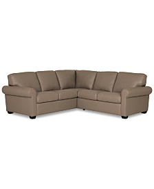 """Orid 2-Pc. """"L""""-Shaped Leather Sectional Sofa, Created for Macy's"""