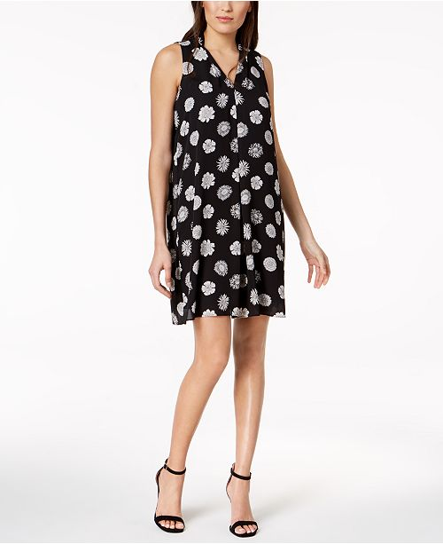 Shift Black Camuto Floral Dress Vince Pleated Print wZYq8I