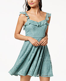 City Studios Juniors' Ruffled Lace Fit & Flare Dress