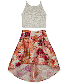 BCX Big Girls 2-Pc. Sequin Top & Floral-Print Skirt Set