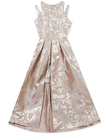 Rare Editions Big Girls Metallic-Print Maxi-Overlay Dress