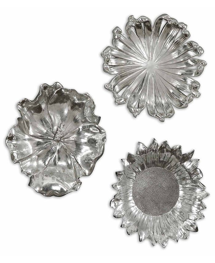 Uttermost - 3-Pc. Silver-Plated Flowers Wall Art Set