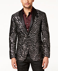 I.N.C. Men's Slim-Fit Patterned Sequined Blazer, Created for Macy's