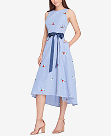 Tahari ASL Embroidered Fit & Flare Midi Dress