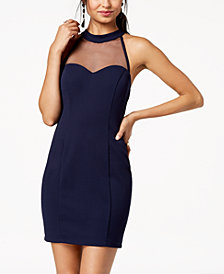 Speechless Juniors' Illusion-Contrast Bodycon Dress, Created for Macy's