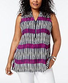 Alfani Plus Size Graphic-Print Half-Zip Top, Created for Macy's