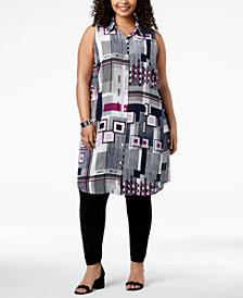 Alfani Plus Size Printed Convertible Tunic Shirt, Created for Macy's